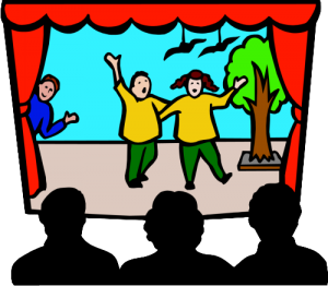 Watching a play at the theatre
