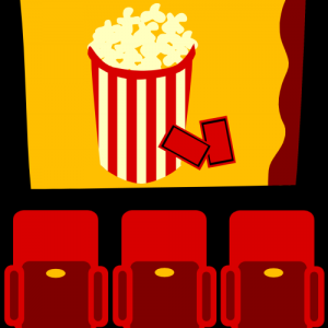 At the Cinema with popcorn