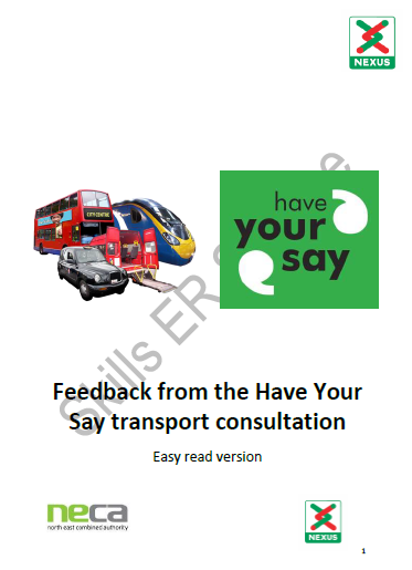 Nexus Have your say Transport consultation Easy Read version