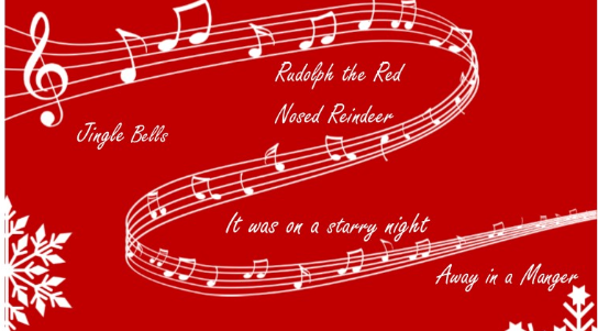 Musical Notes with names of songs - Jingle Bells, Rudolph the Red Nosed Reindeer, It was on a Starry Night, Away in a Manger