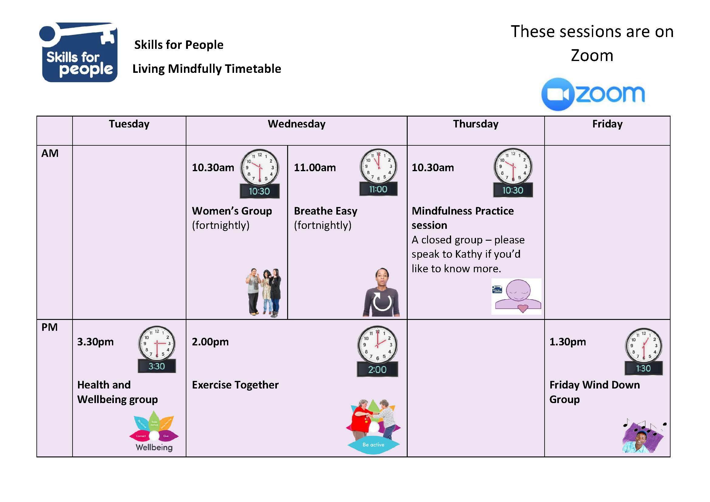 Living Mindfully timetable